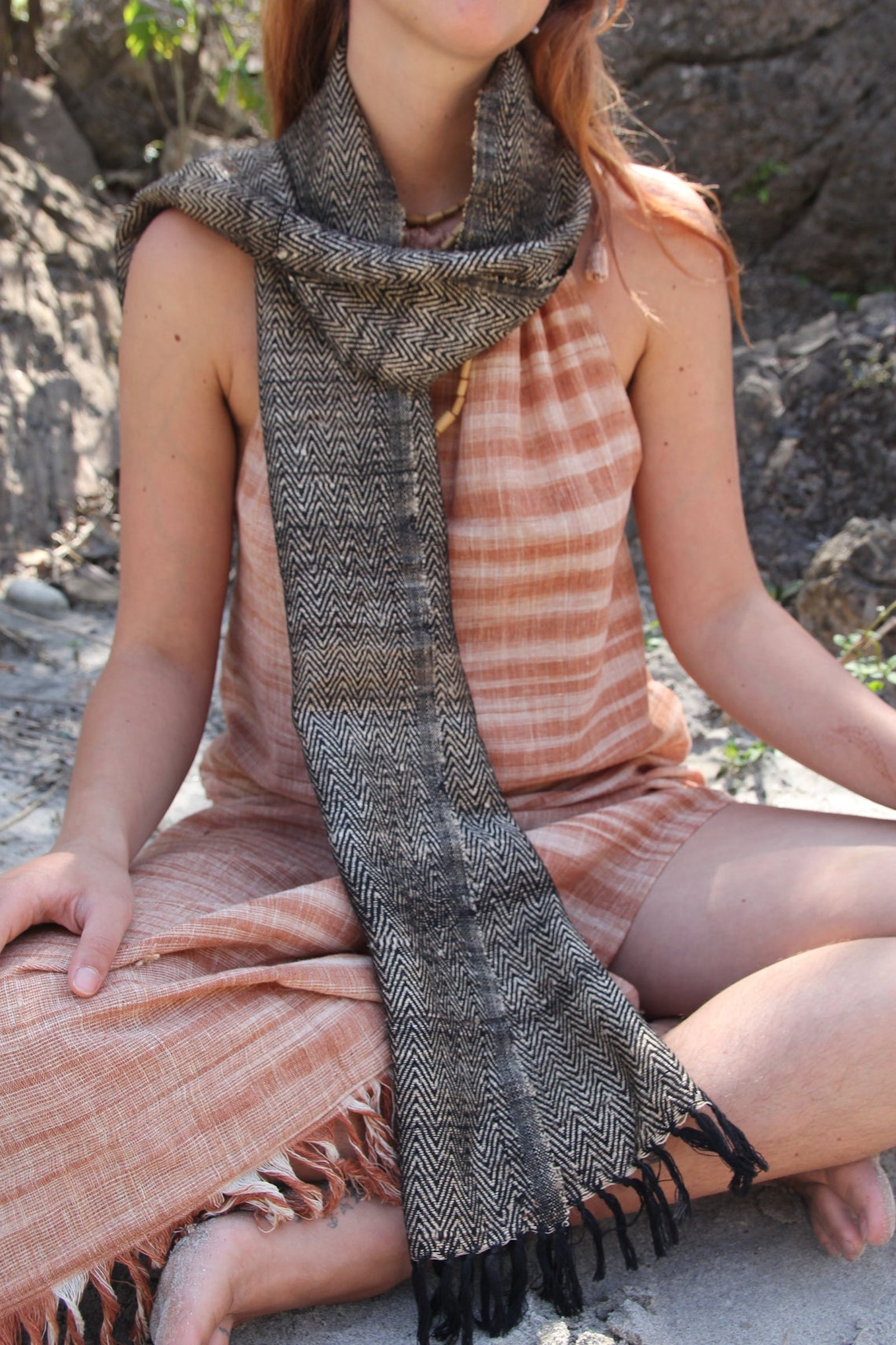 Handwoven Yak wool Scarf. Tribal Weave Yak Wool Scarf
