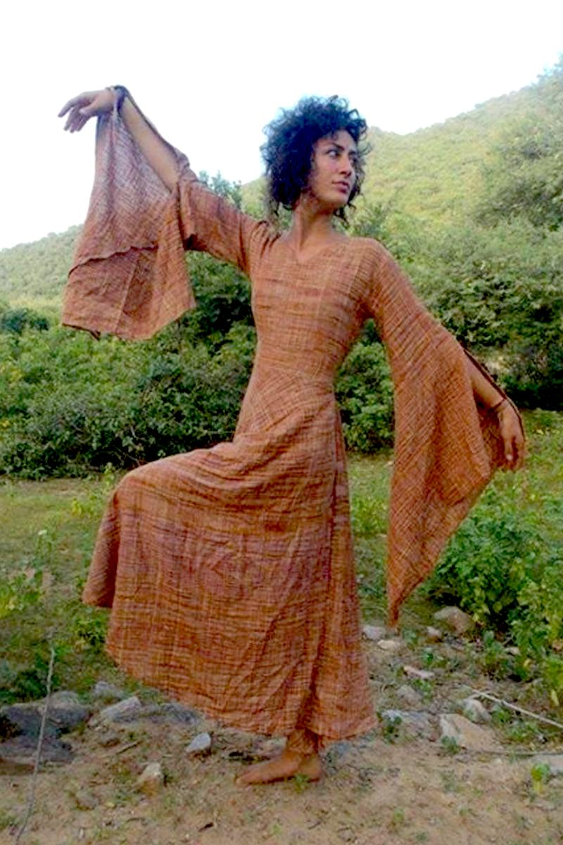 Gypsy Goddess Wide sleeves khadi cotton Dress ~