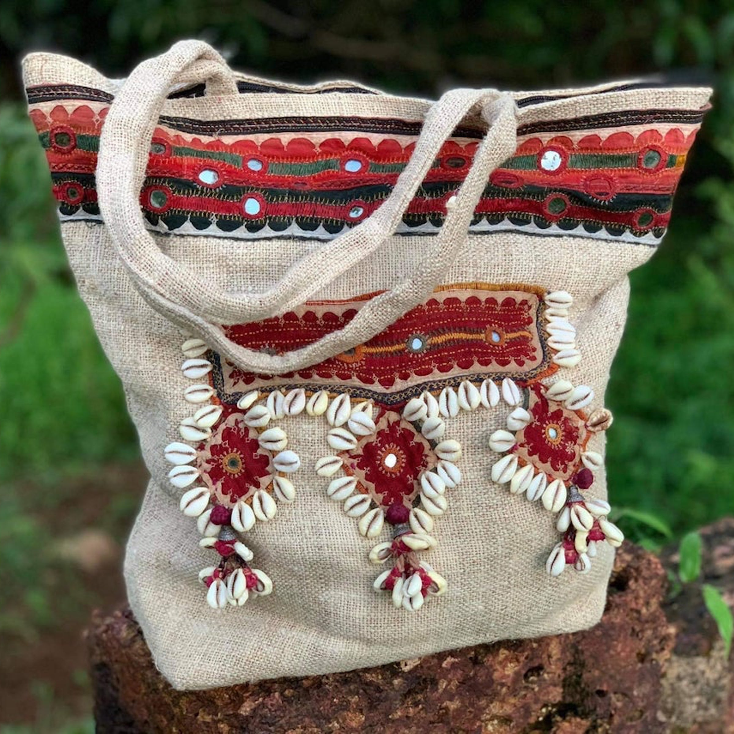 Hemp Bag With Banjara Patches . Tribal Embroidery . Traditional Hand embroidery . Antique Tribal Embroidery . One of a kind Bag