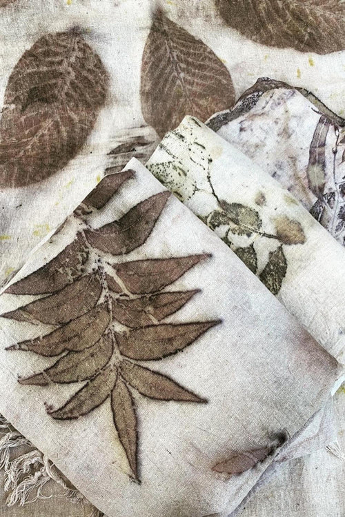 Leaves Prints Raw Silk Shawl . Earthy Organic Nature Creation