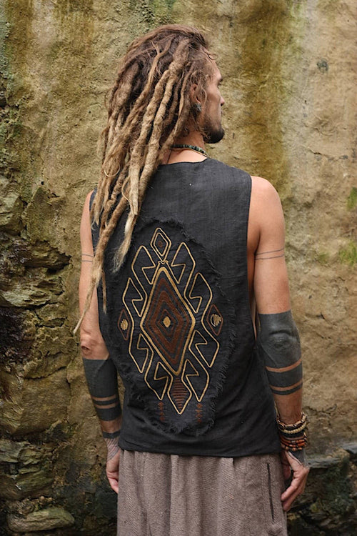 Black Handwoven Cotton Embroidered Vest ⫸ Natural Dyed