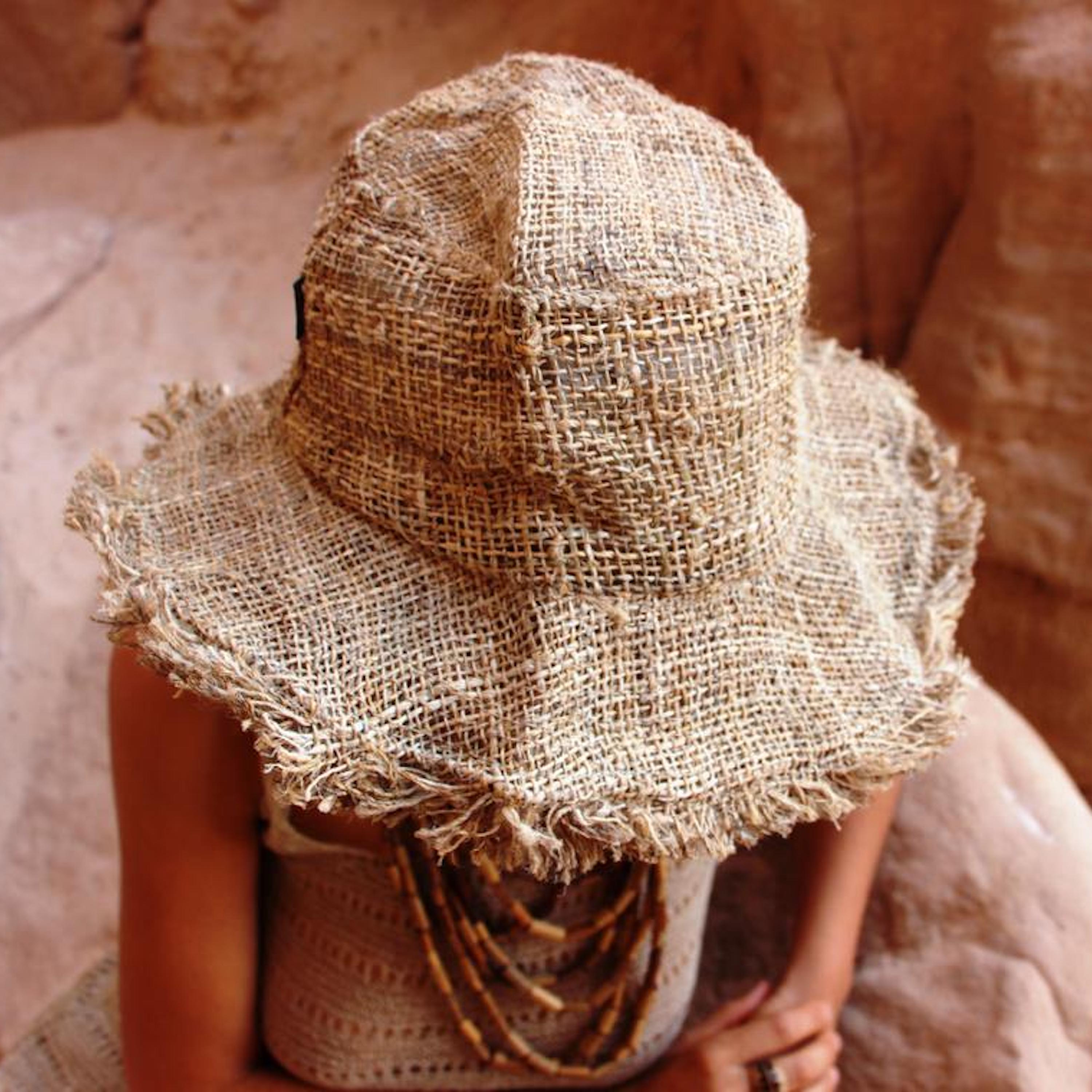 Raw Hemp Hat With Frayed Edges