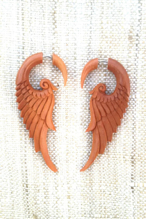 Carved wood wings Earrings ~