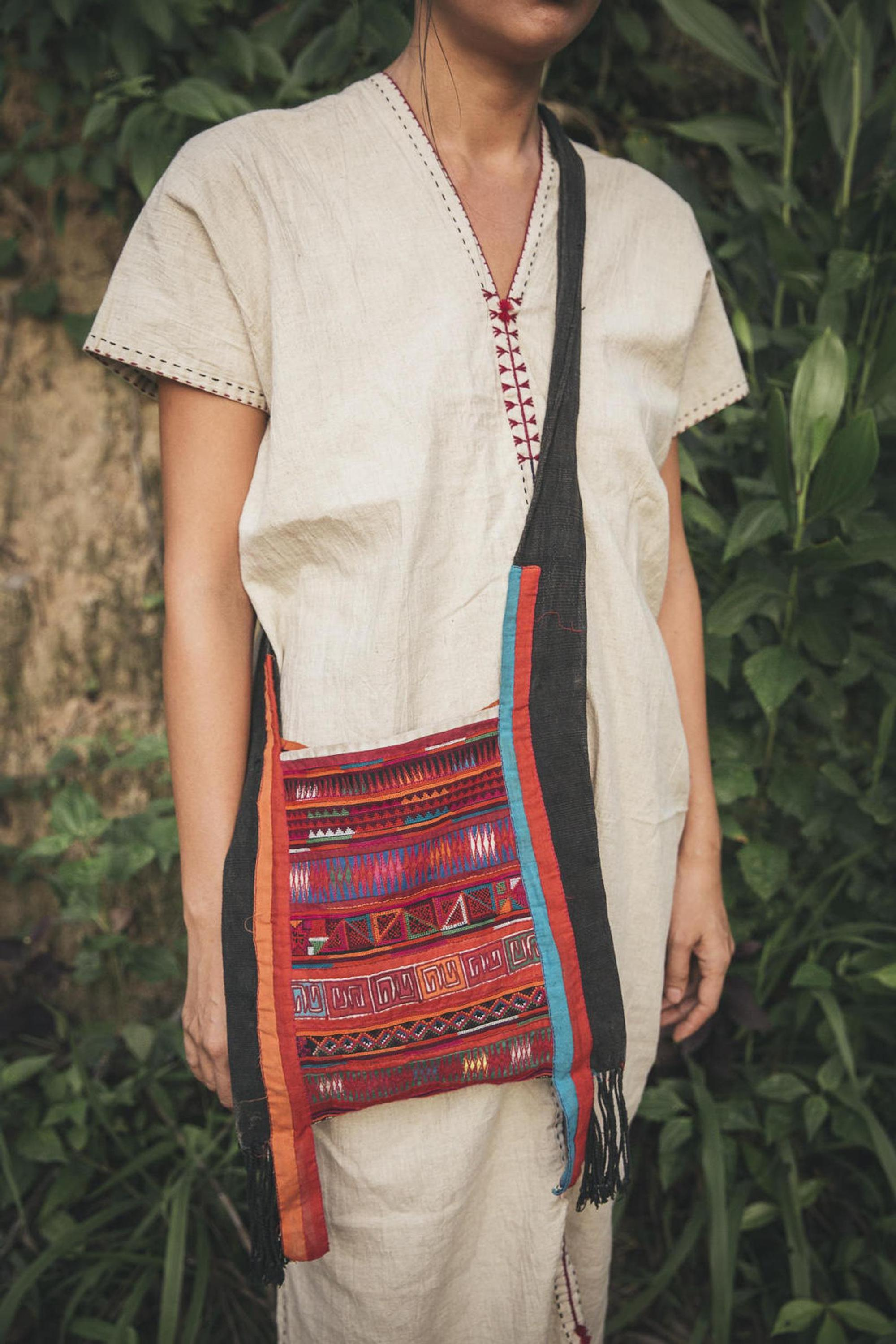Akha Hill Tribe bag •  original tribal • handwoven hemp • Indigo dyed • cross stitched embroidery