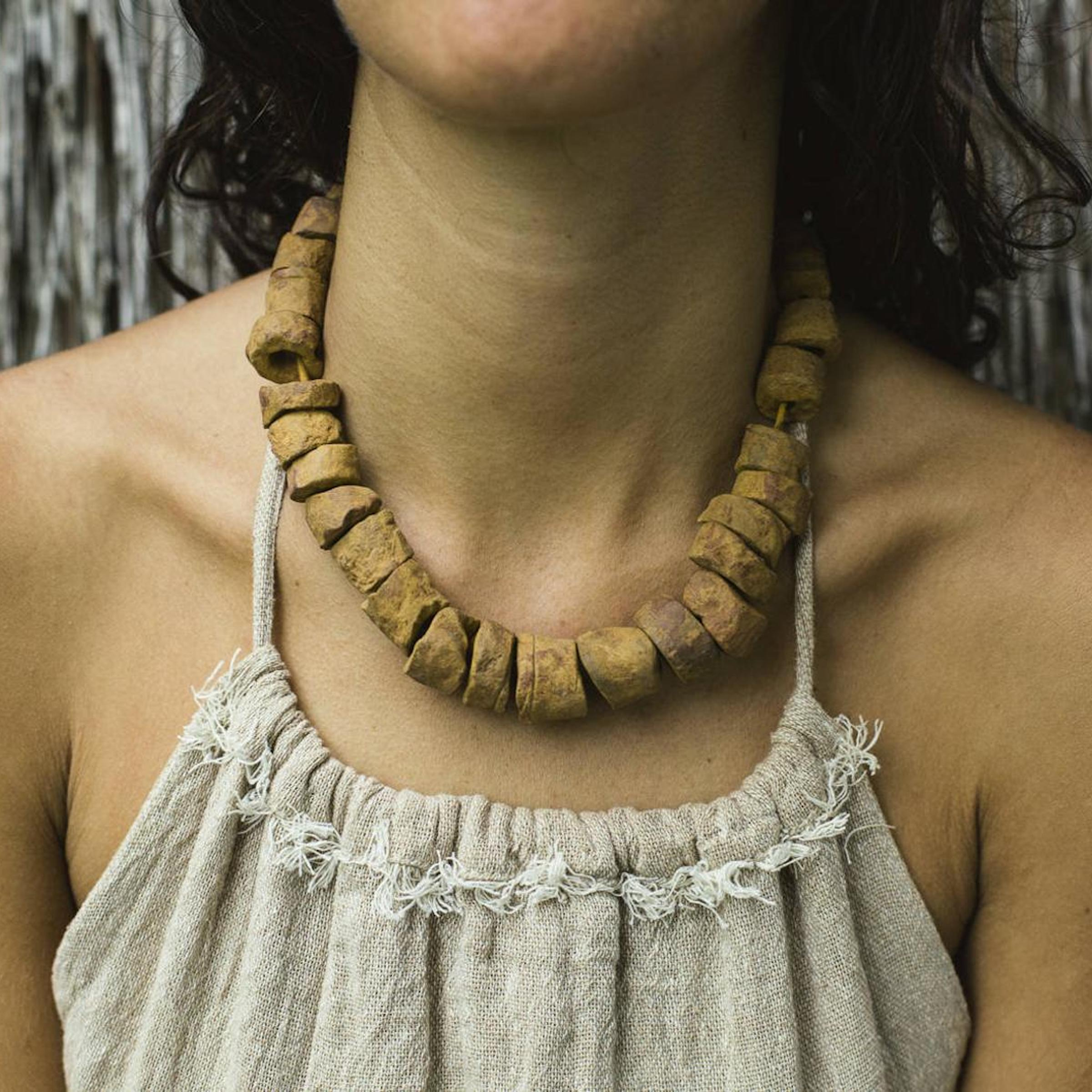 Tribal Burmese Clay Beads Necklace -