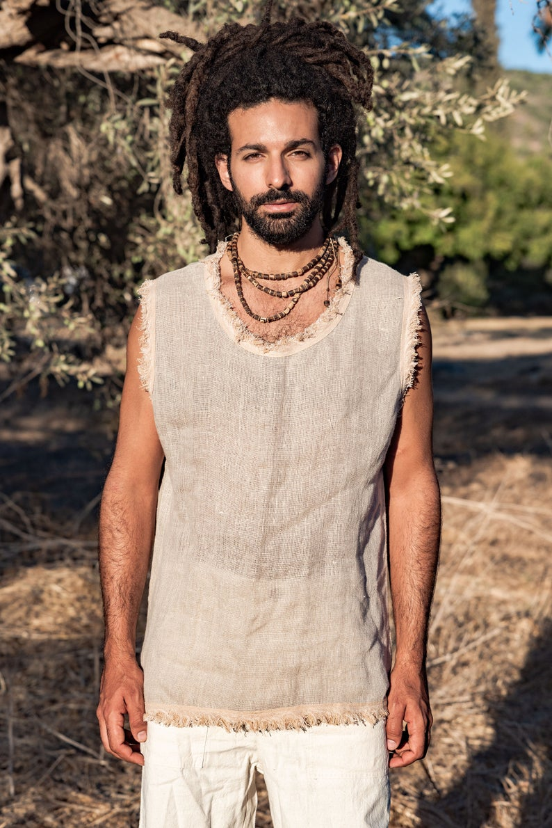 Sleeveless Men Shirt	hippie men shirt	gypsy men shirt	sleeveless shirt	men shirt	tribal men shirt	summer hippie shirt	vegan men shirt	organic men shirt	gypsy men clothing	men linen shirt	summer linen shirt	festival shirt
