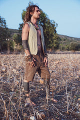 Hemp Outfit • Walnut Bark Herbal Dye Hemp Short Pants + Hemp Panels Vest