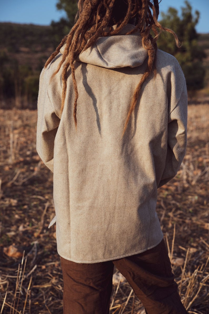 Hooded Wool Shirt. Handmade wool . Shirt With Hoodie . Natural Men Clothing .