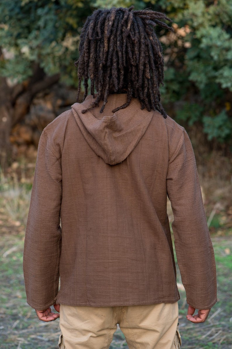 Brown Pullover with Hoodie • Natural Dye Khadi Cotton