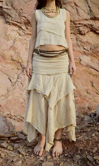 Earth layers skirt + Double Top ~ Earthy Natural Cotton >>~•》Outfit