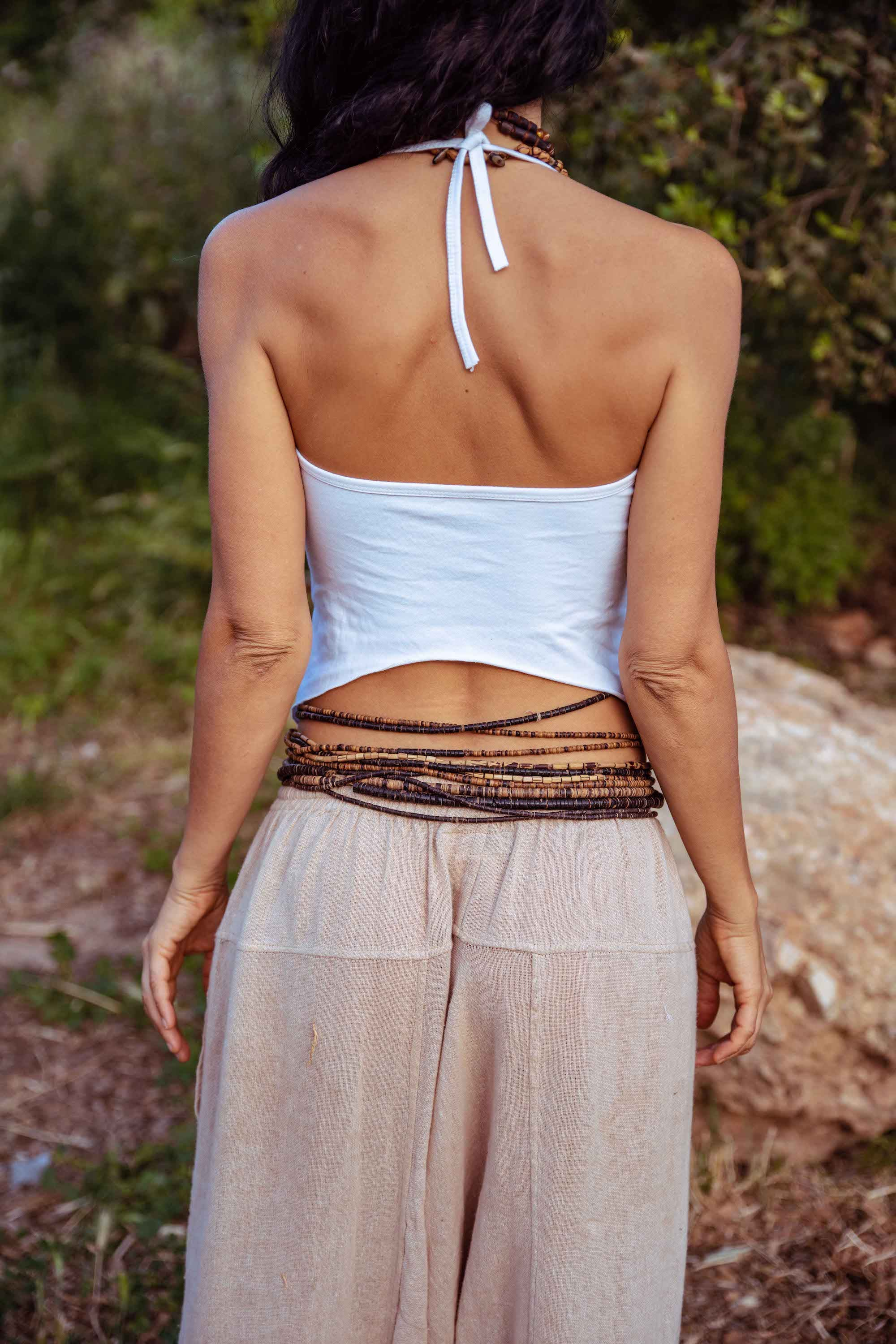 Cream White Backless Halter Top ~ Organic Cotton