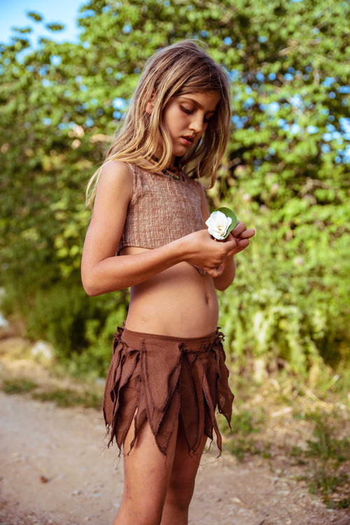 Brown Magic Leaves • Pixie Skirt / Belt For Children