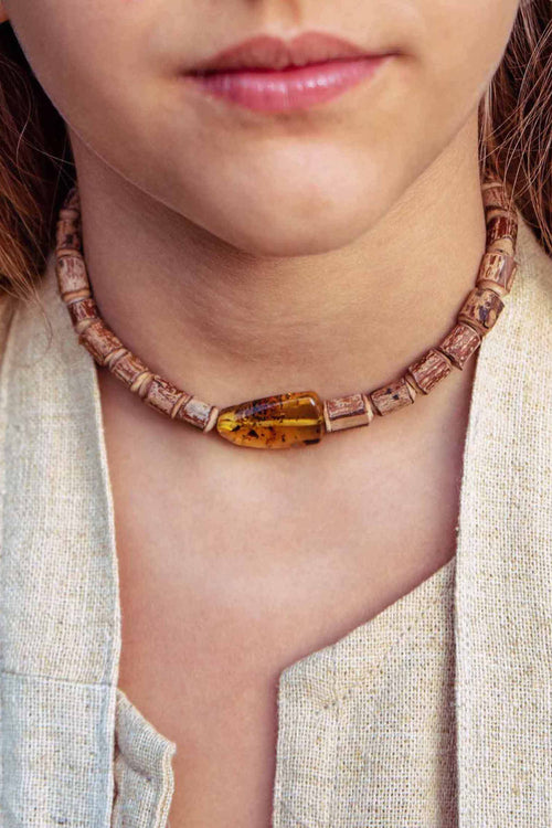 Earth Heart Children Size ~ Raw wood Amber Necklace