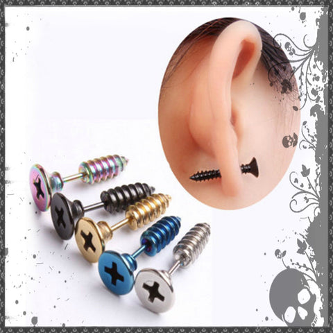 EARRINGS PUNK STYLE STAINLESS STEEL