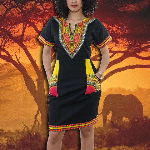 DASHIKI PRINT POCKET DESIGN BLACK DRESS