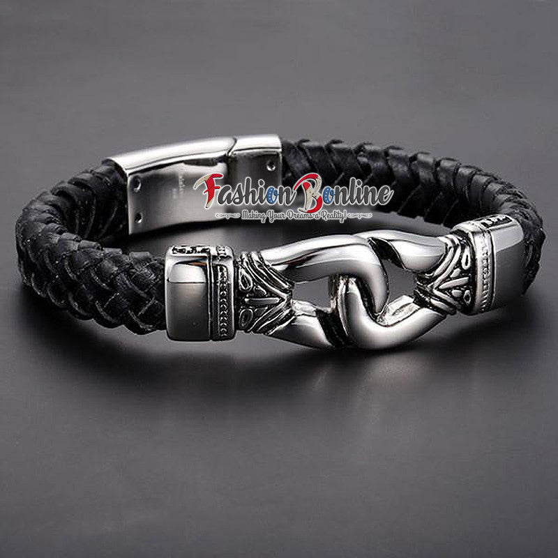 AZTEC LEATHER AND STAINLESS STEEL BRACELET