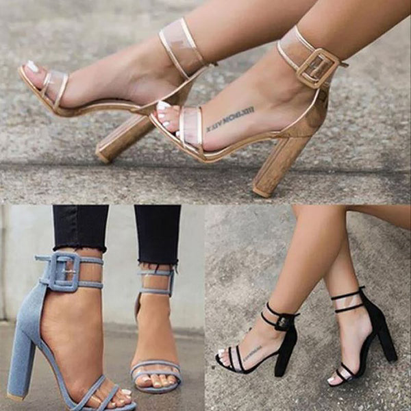 SEXY TRANSPARENT ANKLE THICK HIGH HEELS