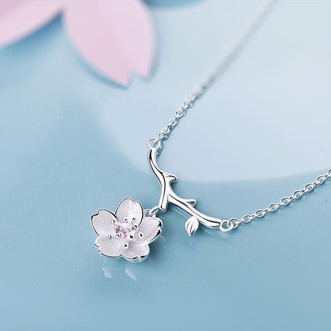 STERLING SILVER ZIRCONIA CHERRY BLOSSOM FLOWER