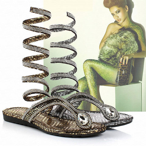 CRYSTAL PRINCESS SANDALS SERPENT DESIGN