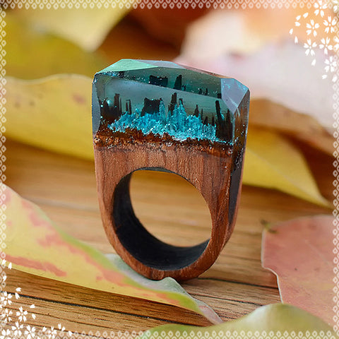 HANDMADE RESIN RINGS MADE OF SIBERIAN WOOD