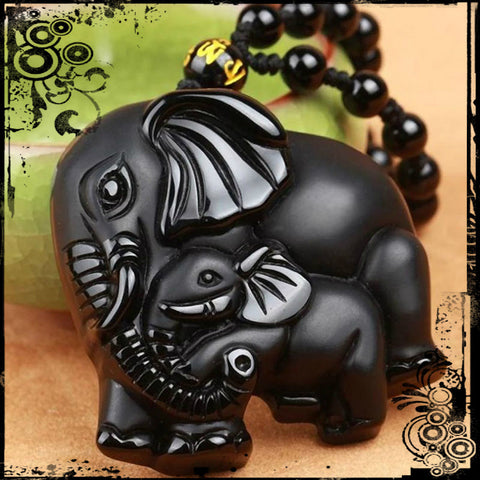 OBSIDIAN BLACK ELEPHANTS NECKLACE