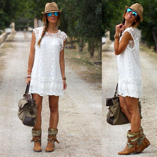 SUMMER BOHO WHITE LACE DRESS PLUS SIZE