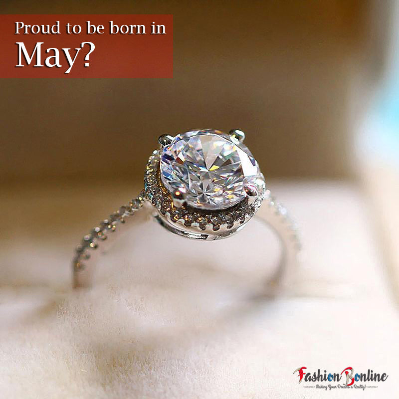 MAY BIRTHSTONE DIAMOND CZ RING