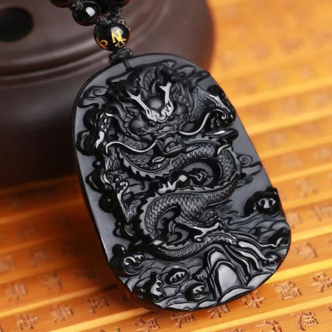 NATURAL BLACK OBSIDIAN DRAGON DROP PENDANT NECKLACE