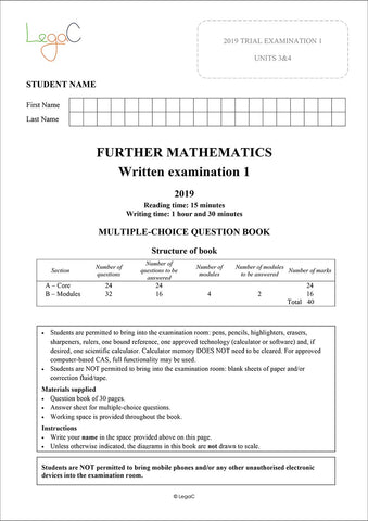 2020 Further Mathematics Units 3&4 Trial Exams - Modified for the revised 2020 VCAA Study Design