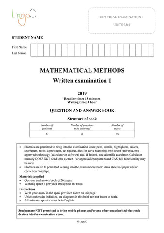 2020 Mathematical Methods Units 3&4 Trial Exams - Modified for the revised 2020 VCAA Study Design