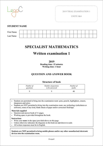 2020 Specialist Mathematics Units 3&4 Trial Exams - Modified for the revised 2020 VCAA Study Design
