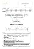 2020 Mathematical Methods Unit 1 Exams
