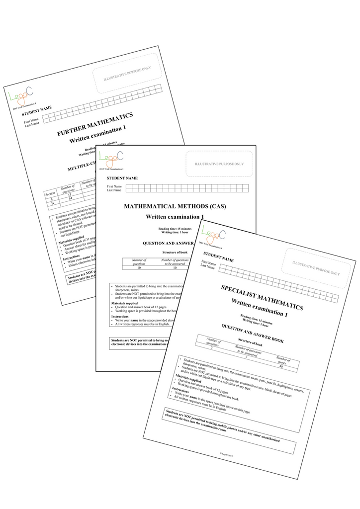 2018 VCE Mathematics Units 3&4 Trial Examination PACK