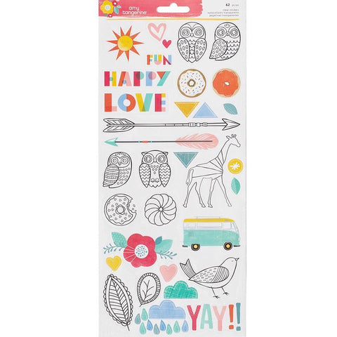 Amy Tangerine Oh Happy Life 6 x 12 accent & phrase stickers