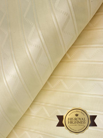 Brand New High Quality Brocade Voile Fabric in Cream - 5 Yards | HQVB002