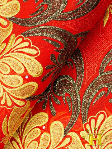 FS274 Stunning Fine Swiss Lace - RG - Red & Gold