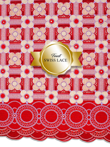 FS307 Stunning Fine Swiss Lace - RG - Red & Gold