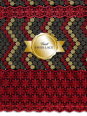 FS310 Stunning Fine Swiss Lace - BGR - Black, Gold & Red