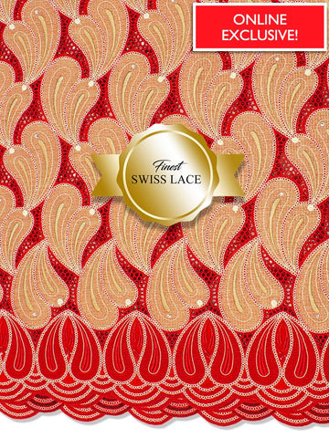 FS312 Stunning Fine Swiss Lace - RG - Red & Gold