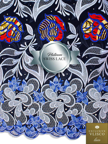 PSLV103 Platinum Vlisco Patchwork Swiss Lace - Handmade & Rare Lace