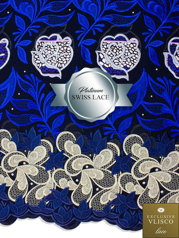 PSLV104 Platinum Vlisco Patchwork Swiss Lace - Handmade & Rare Lace