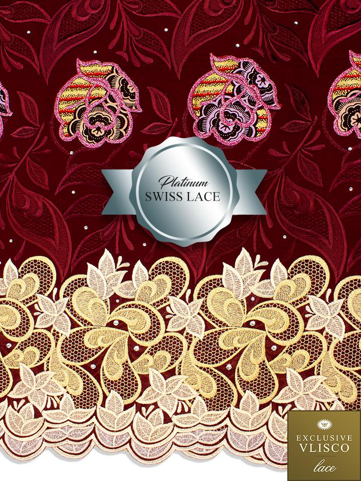 PSLV108 Platinum Vlisco Patchwork Swiss Lace - Handmade & Rare Lace