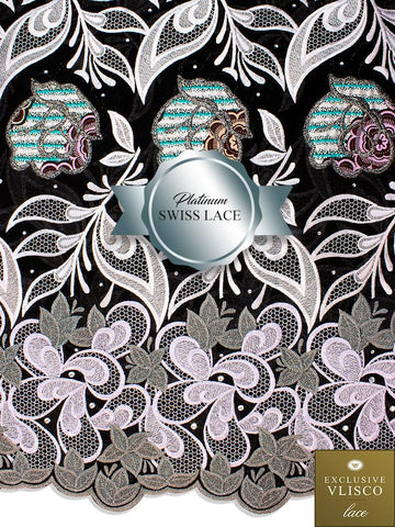 PSLV110 Platinum Vlisco Patchwork Swiss Lace - Handmade & Rare Lace