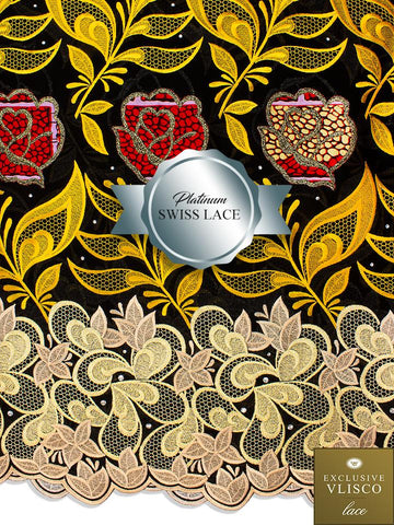 PSLV111 Platinum Vlisco Patchwork Swiss Lace - Handmade & Rare Lace