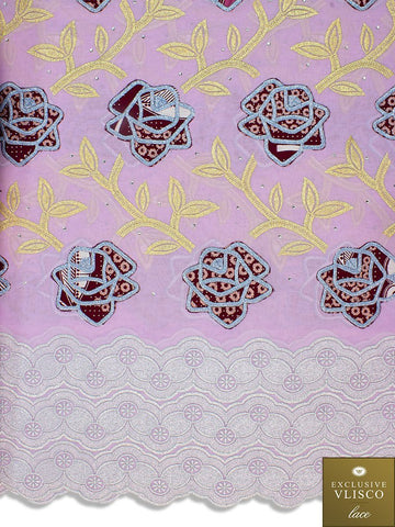 PSLV113 Platinum Vlisco Patchwork Swiss Lace - Handmade & Rare Lace