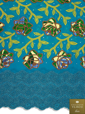 PSLV117 Platinum Vlisco Patchwork Swiss Lace - Handmade & Rare Lace