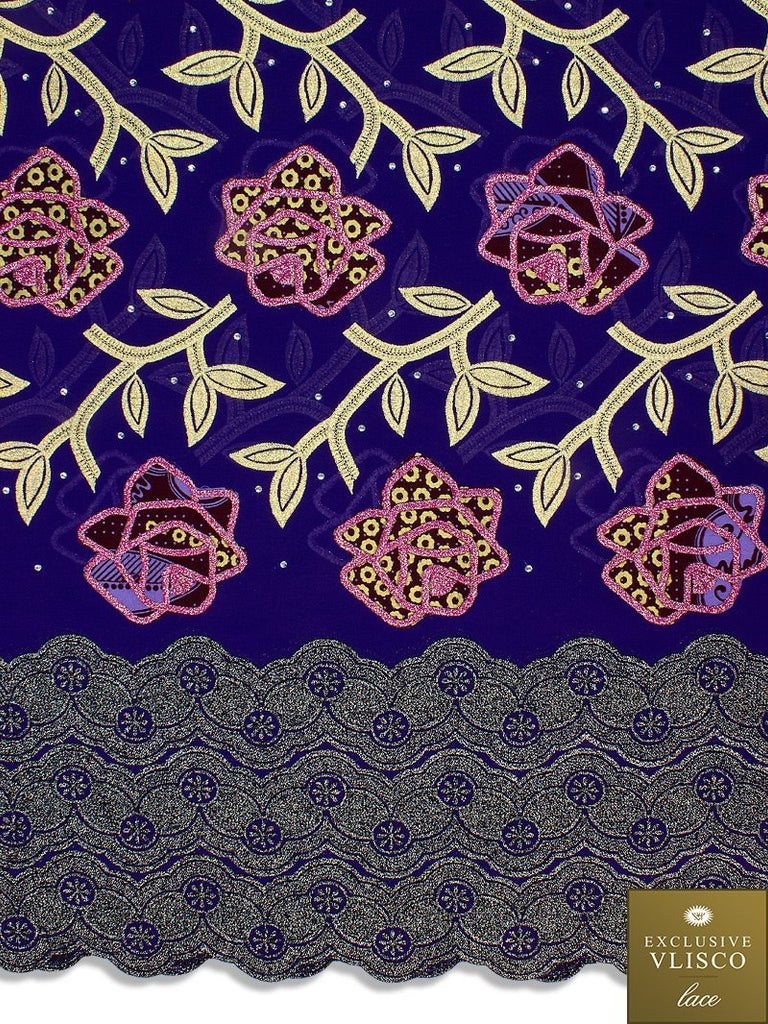 PSLV118 Platinum Vlisco Patchwork Swiss Lace - Handmade & Rare Lace