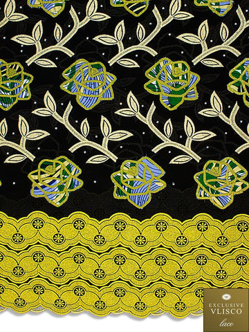 PSLV119 Platinum Vlisco Patchwork Swiss Lace - Handmade & Rare Lace