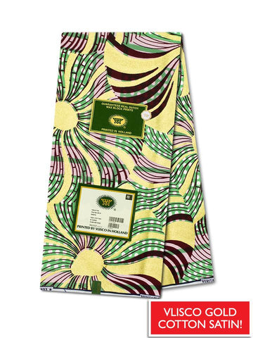 Vlisco Cotton Satin Gold Embellished VLCS438  -  NEW!