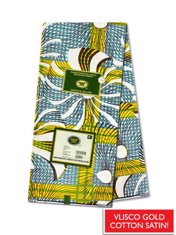 Vlisco Cotton Satin Gold Embellished VLCS439  -  NEW!